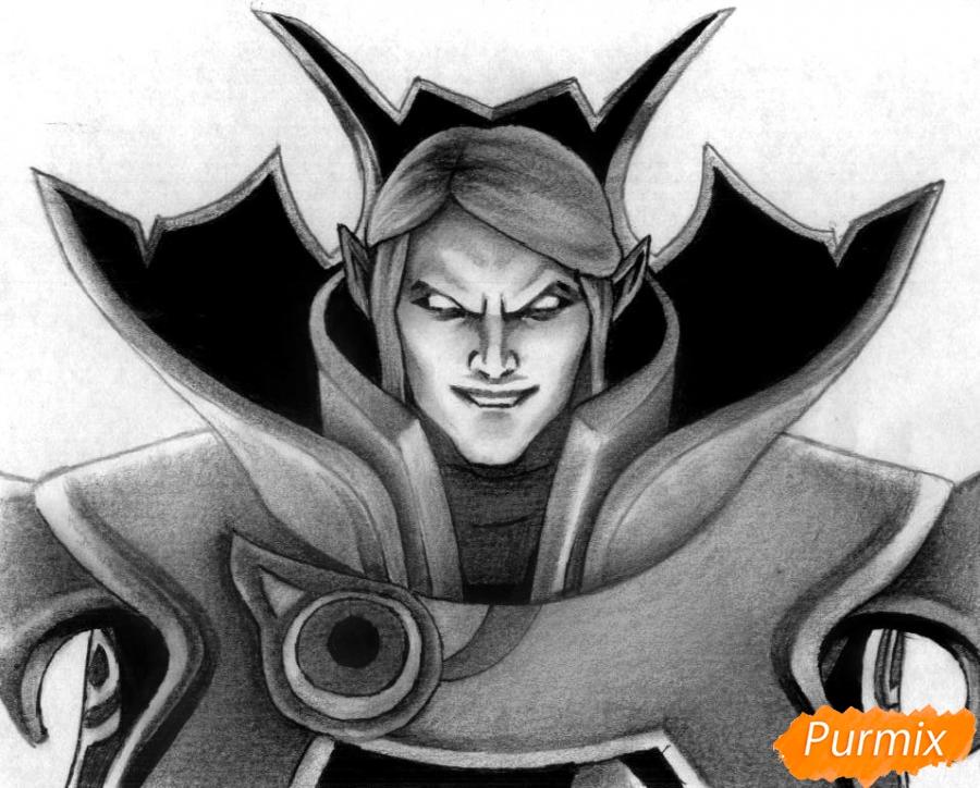 Как нарисовать героя Invoker из игры Dota 2 карандашом поэтапно