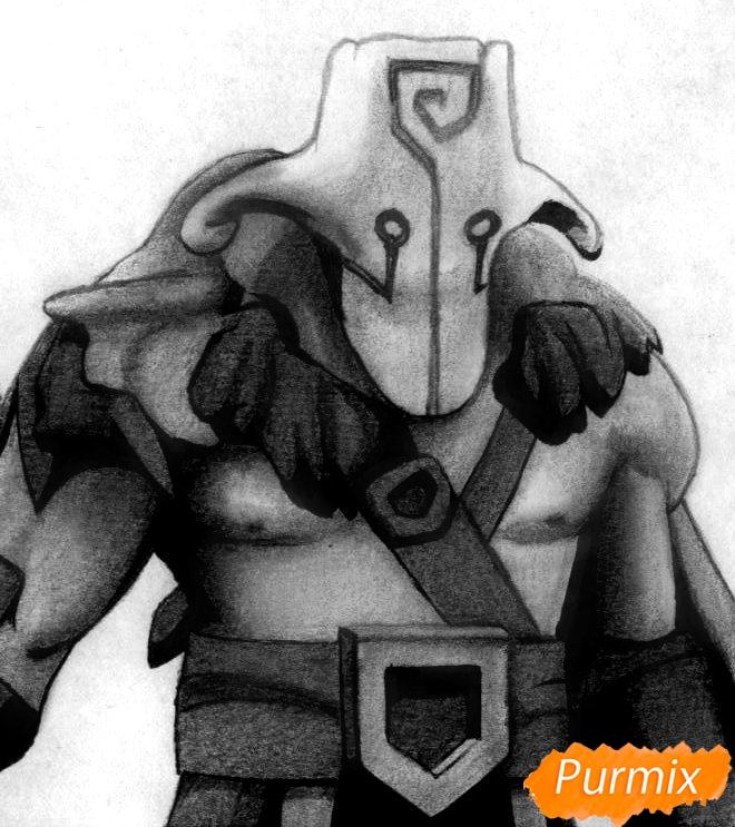 Как нарисовать героя Juggernaut из Dota 2 карандашом поэтапно