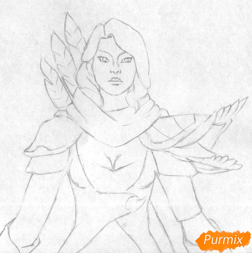 Рисуем героя Windranger из игры Dota 2 - шаг 1
