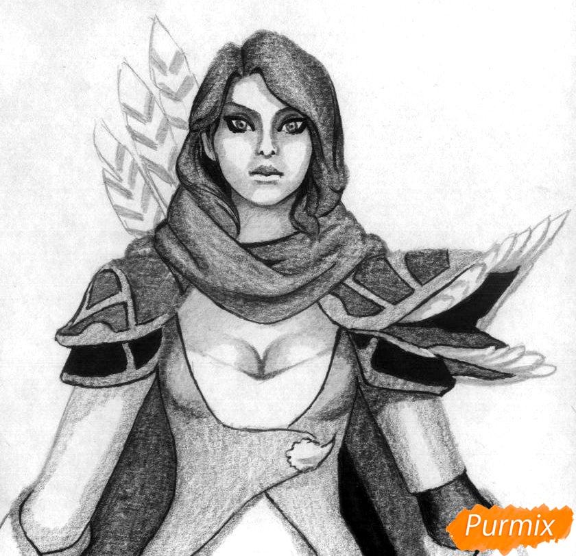 Рисуем героя Windranger из игры Dota 2 - шаг 4