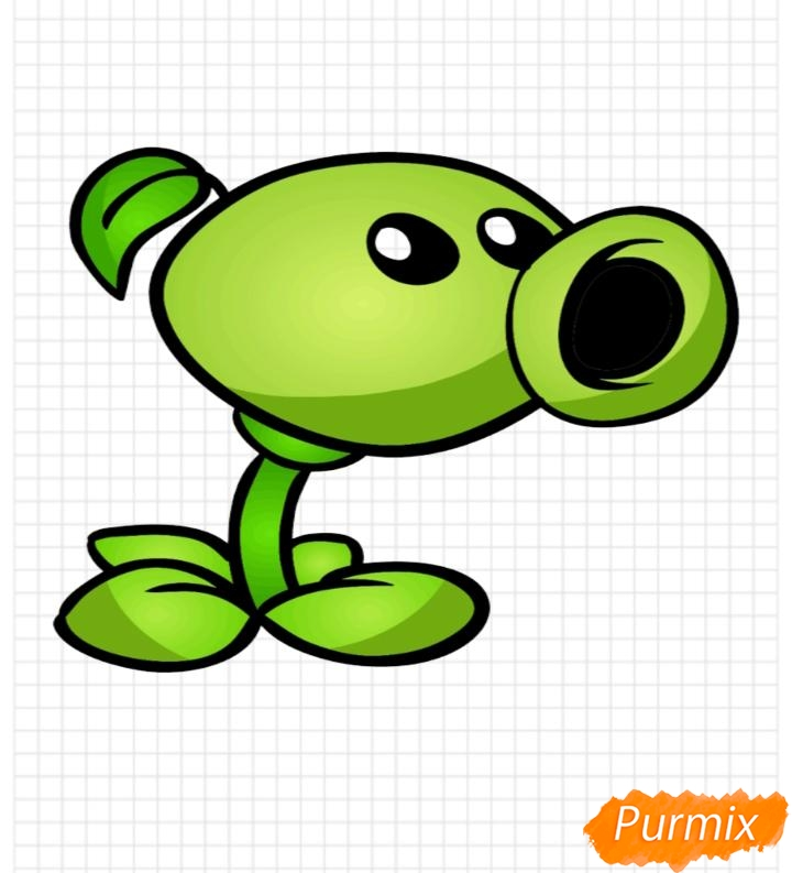 Как нарисовать Горохострел из игры Растения Против Зомби поэтапно