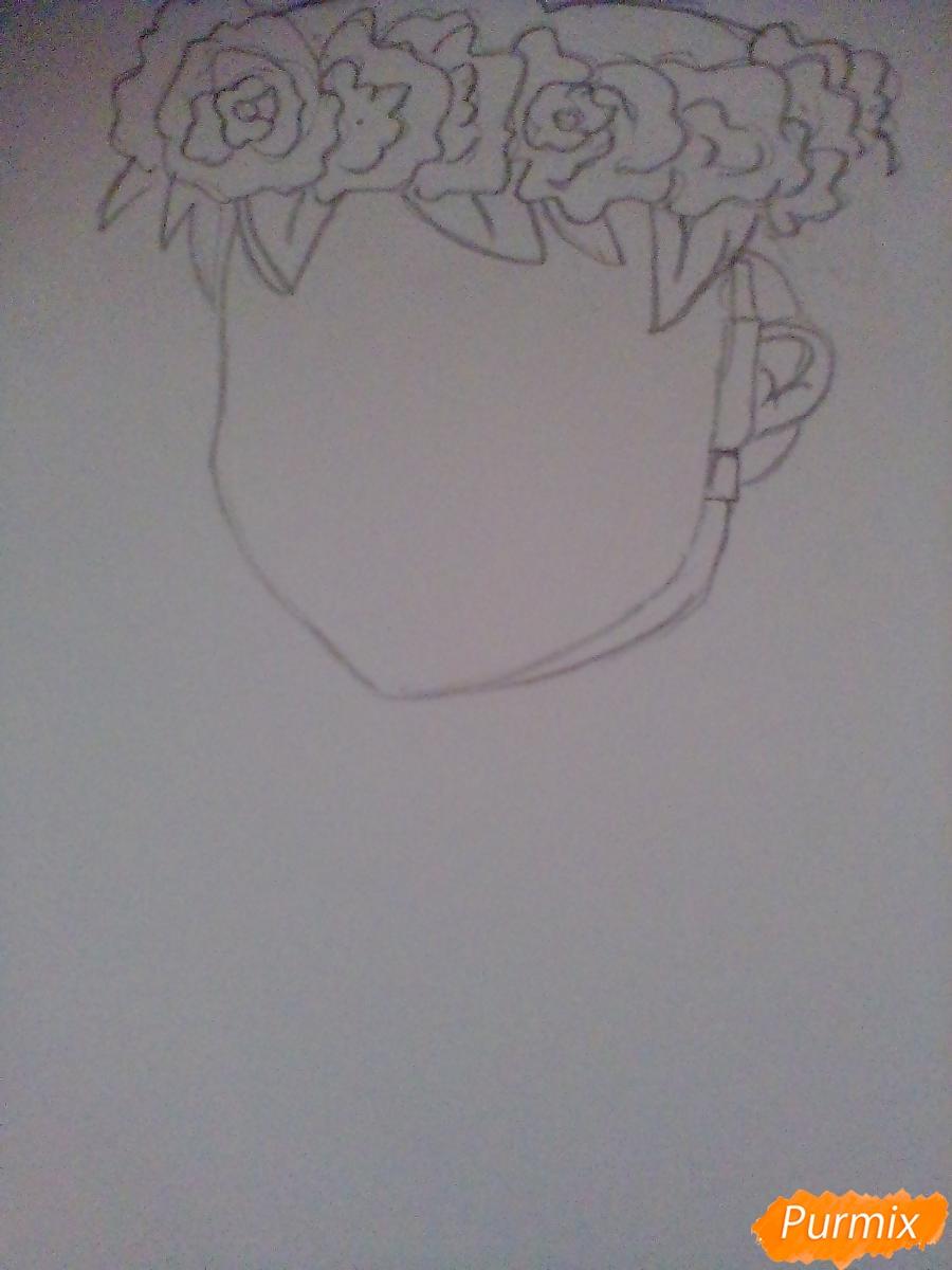 Рисуем и раскрасить Салли Фишера с венком на голове карандашами - шаг 2
