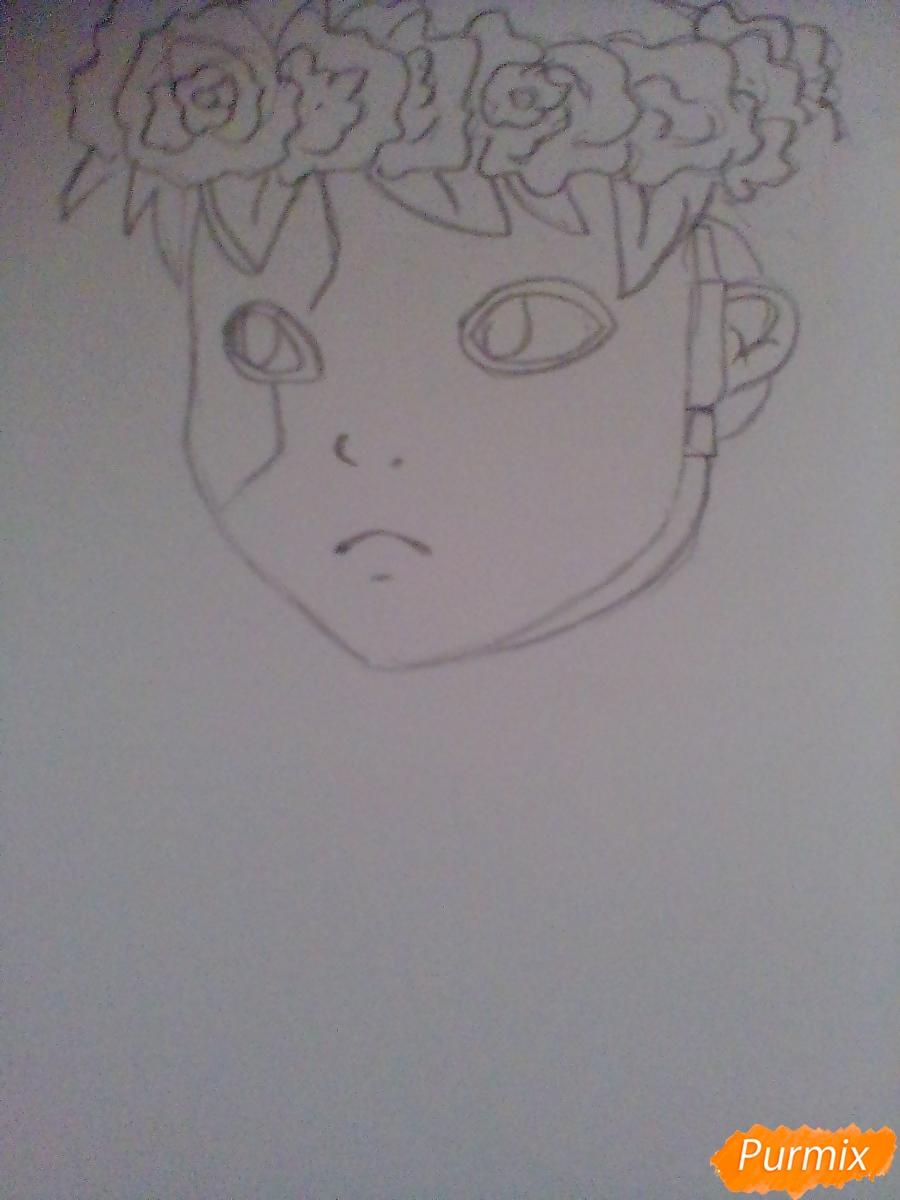 Рисуем и раскрасить Салли Фишера с венком на голове карандашами - фото 3