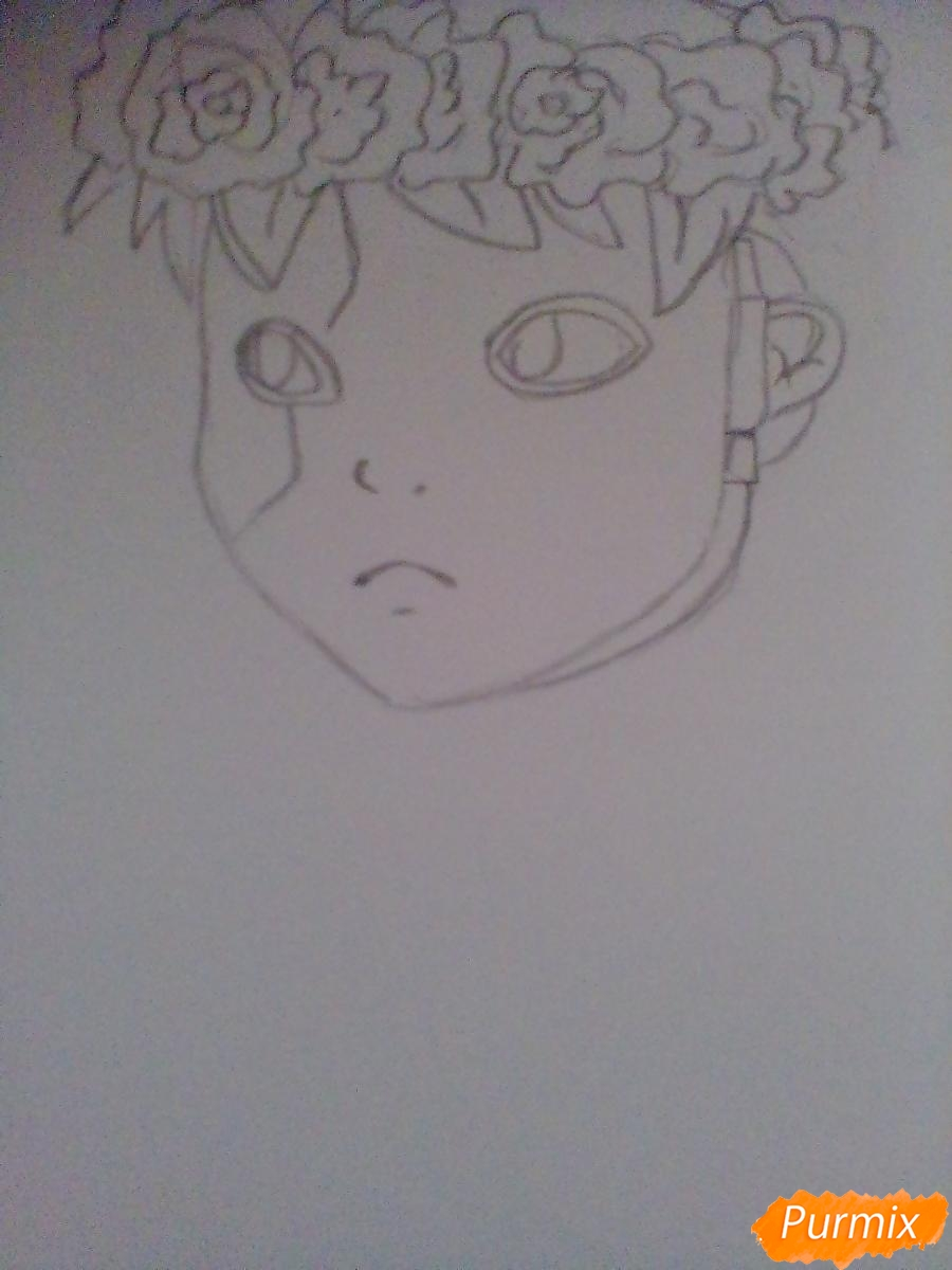 Рисуем и раскрасить Салли Фишера с венком на голове карандашами - шаг 3
