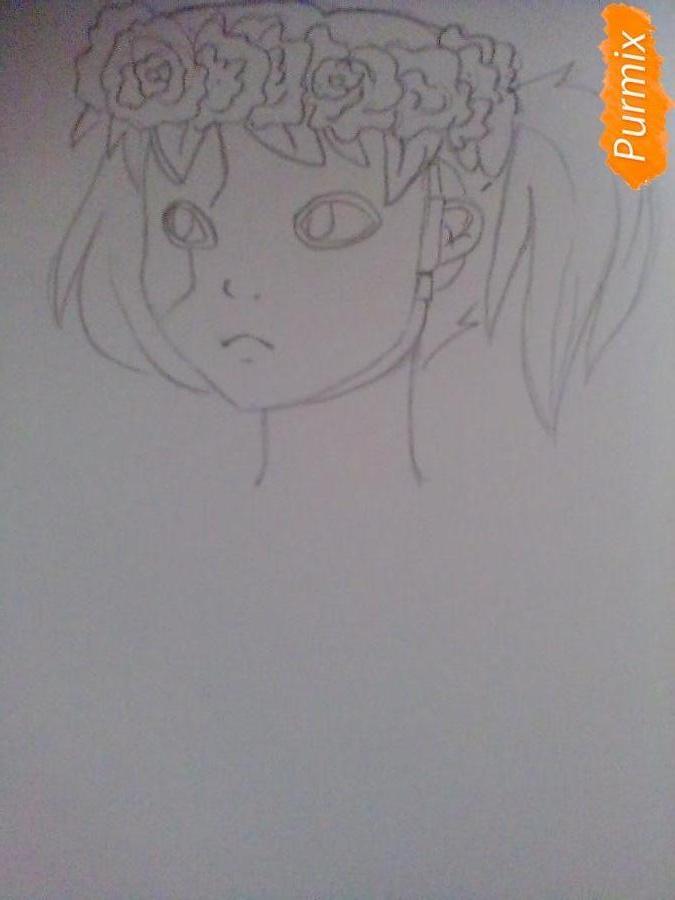 Рисуем и раскрасить Салли Фишера с венком на голове карандашами - шаг 4
