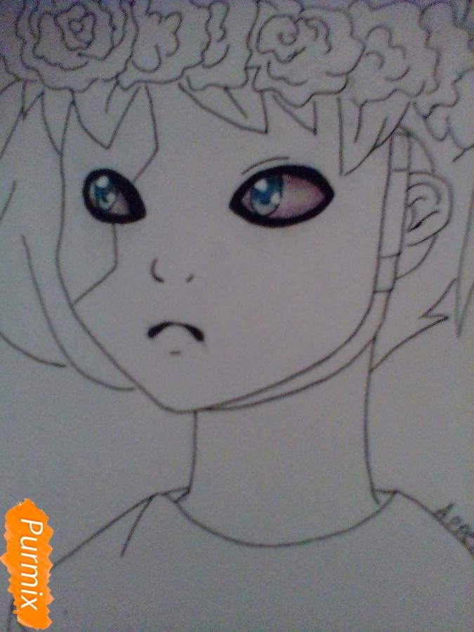 Рисуем и раскрасить Салли Фишера с венком на голове карандашами - шаг 7