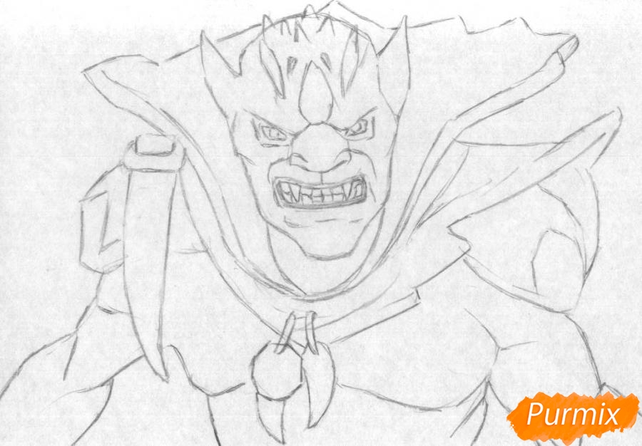 Рисуем Lion персонажа игры Dota 2 карандашами - шаг 1