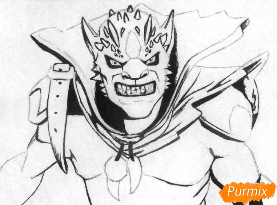 Рисуем Lion персонажа игры Dota 2 карандашами - шаг 2
