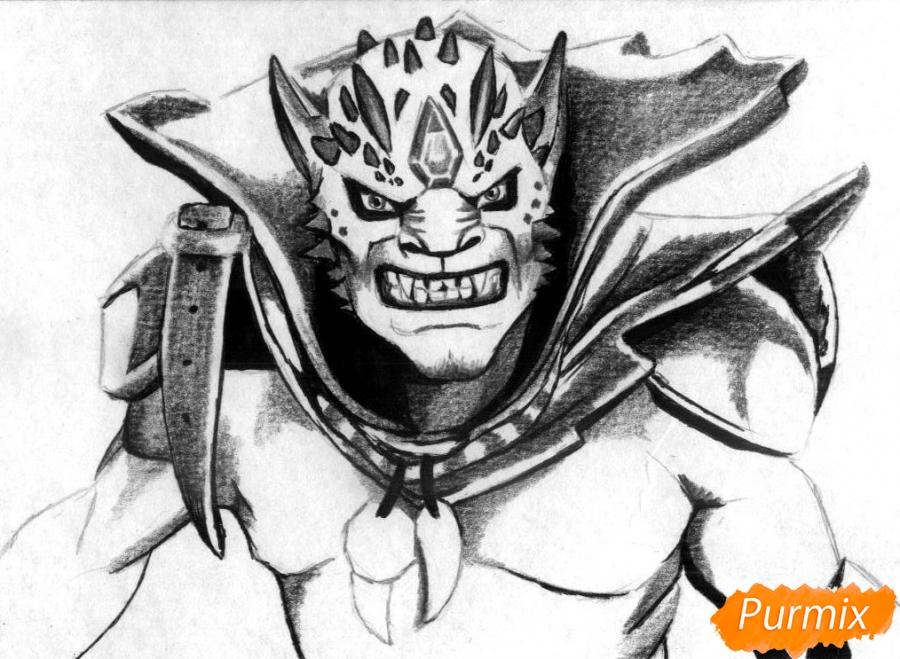 Рисуем Lion персонажа игры Dota 2 карандашами - фото 3