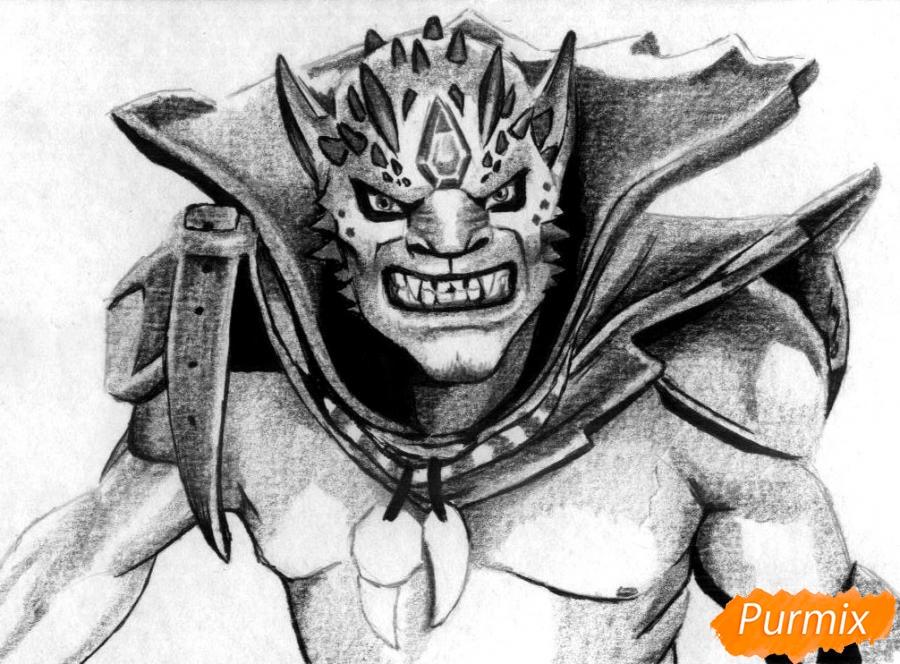 Рисуем Lion персонажа игры Dota 2 карандашами - фото 4