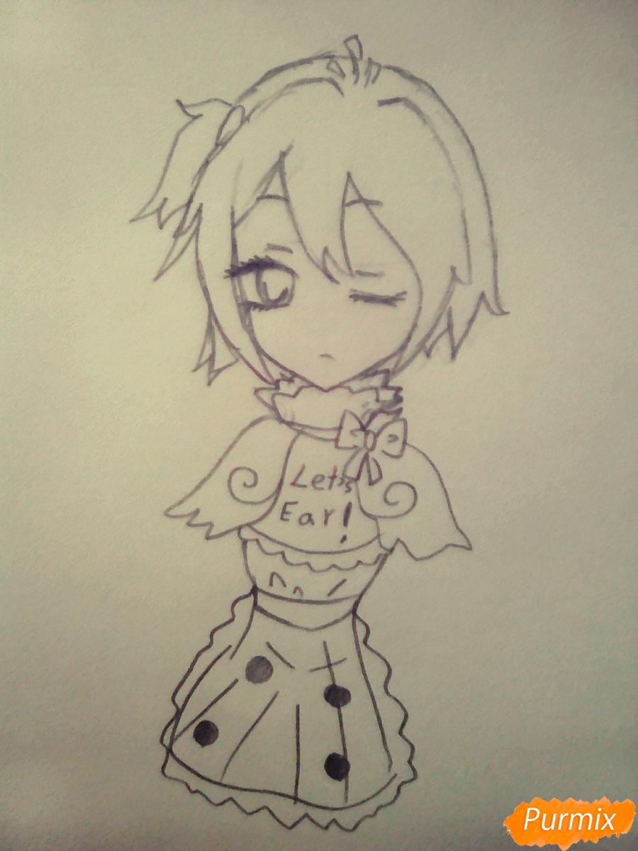 Рисуем милую Чику девочку - шаг 4
