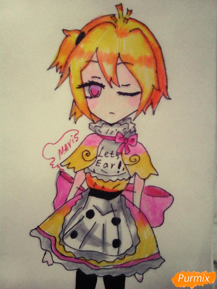 Рисуем милую Чику девочку - шаг 8