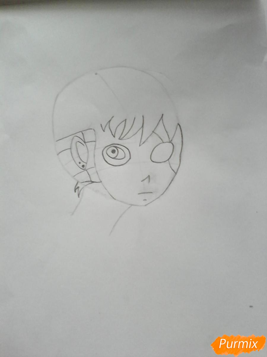 Рисуем Салли из игры Sally Face карандашами - шаг 3