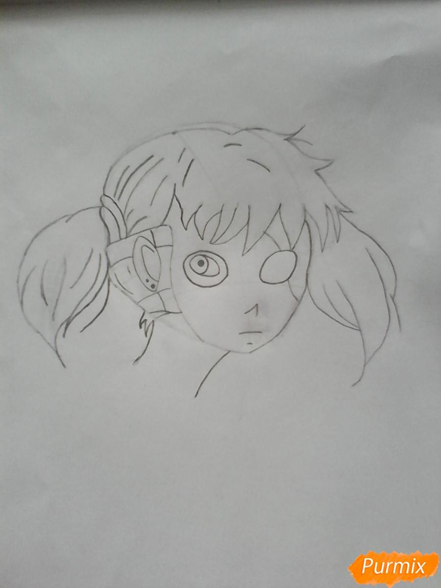 Рисуем Салли из игры Sally Face карандашами - шаг 5