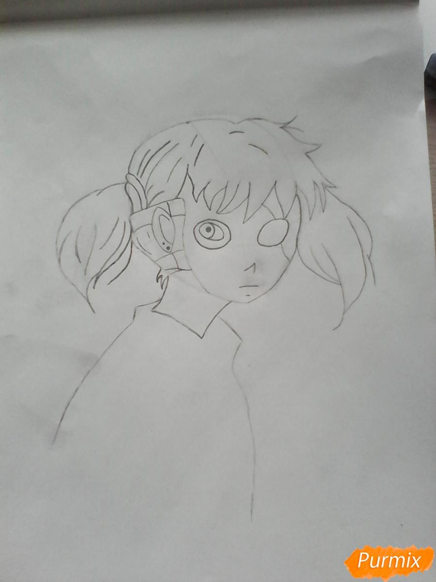 Рисуем Салли из игры Sally Face карандашами - шаг 6