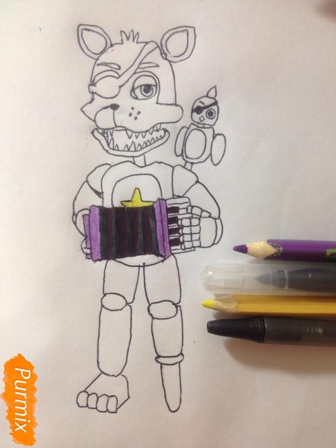 Как  нарисовать Рок-Стар Фокси из Пять ночей с Фредди - фото 12
