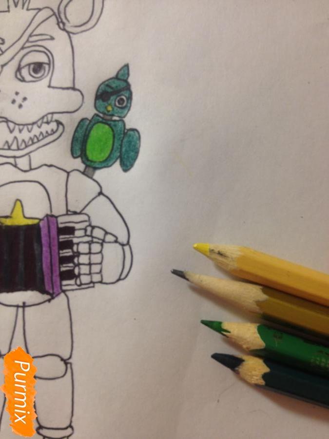 Как  нарисовать Рок-Стар Фокси из Пять ночей с Фредди - фото 13