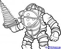 Фото Big Daddy из  Bioshock карандашом