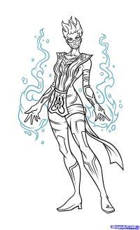 Как нарисовать Frost из Mortal Kombat карандашом поэтапно