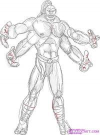 Как нарисовать Goro из Mortal Kombat карандашом поэтапно