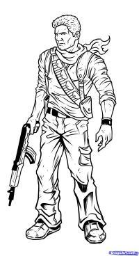 Nathan Drake из Uncharted карандашом