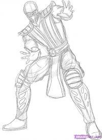 Фото Sub-Zero в полный рост из Mortal Kombat карандашом