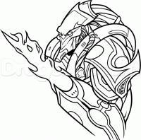 Зилота из игры StarCraft II карандашом