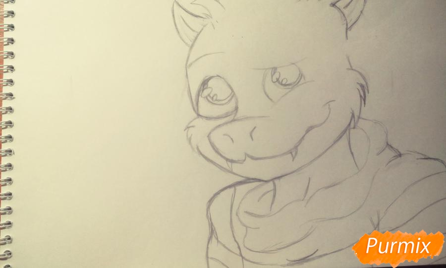 Как нарисовать Азриэля из игры Undertale карандашами и ручкой поэтапно - шаг 3