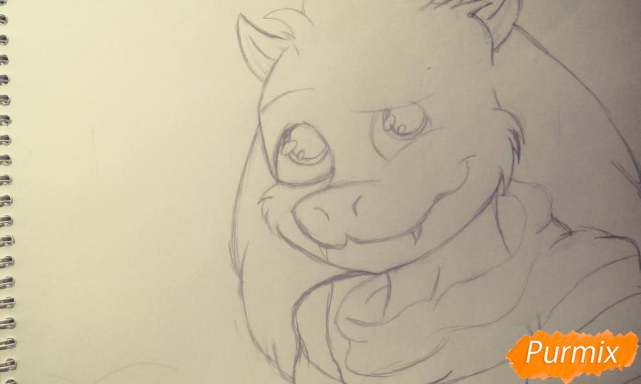 Как нарисовать Азриэля из игры Undertale карандашами и ручкой поэтапно - шаг 4