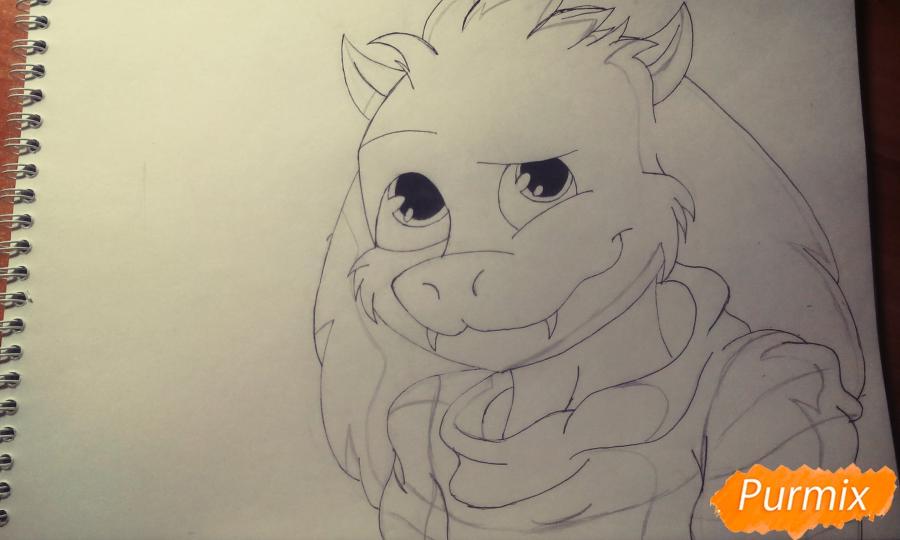 Рисуем Азриэля из игры Undertale карандашами и ручкой - шаг 6