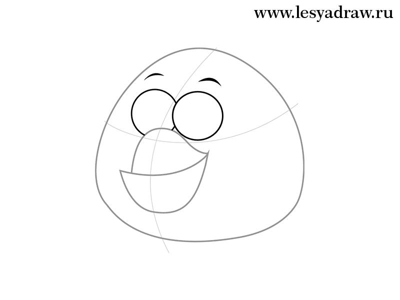 Рисуем белую птицу из игры Angry Birds - шаг 3