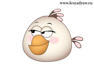 Как нарисовать белую птицу из Angry Birds карандашом поэтапно