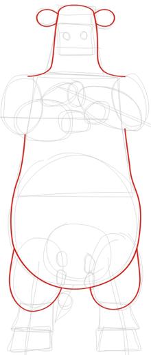 Как нарисовать Большого Быкаиз игры Barnyard карандашом поэтапно