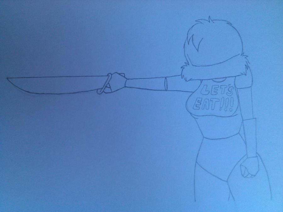 Рисуем и раскрасить Чику с ножом - шаг 4