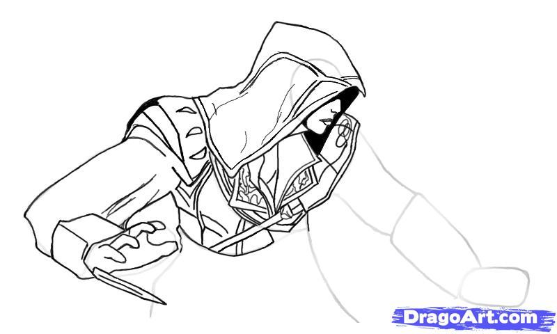 Рисуем Эцио в профиль из Assassins Creed - шаг 10