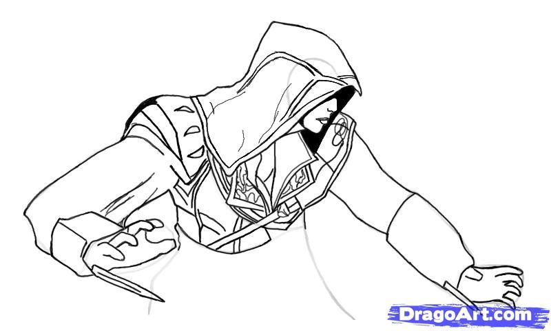 Рисуем Эцио в профиль из Assassins Creed - шаг 11