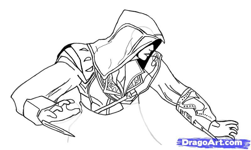 Рисуем Эцио в профиль из Assassins Creed - шаг 12