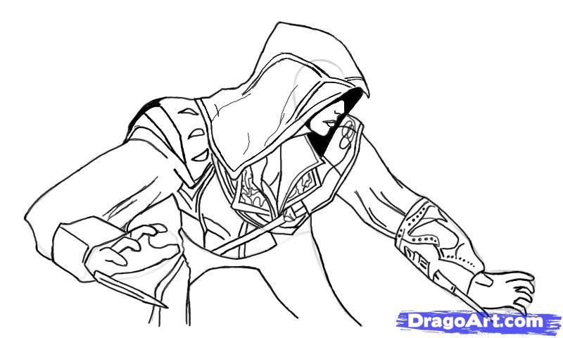 Рисуем Эцио в профиль из Assassins Creed - шаг 13