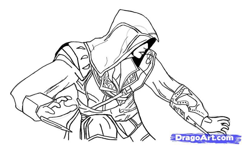 Рисуем Эцио в профиль из Assassins Creed - шаг 14