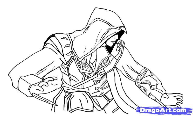 Рисуем Эцио в профиль из Assassins Creed - шаг 15