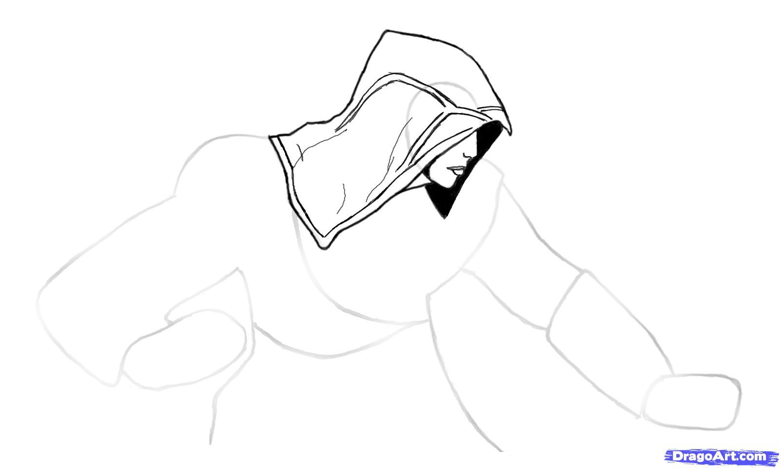 Рисуем Эцио в профиль из Assassins Creed - шаг 3