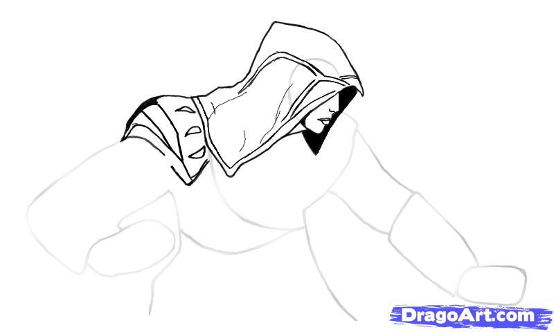 Рисуем Эцио в профиль из Assassins Creed - шаг 4