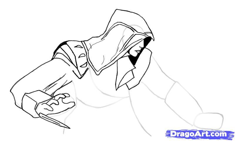 Рисуем Эцио в профиль из Assassins Creed - шаг 7