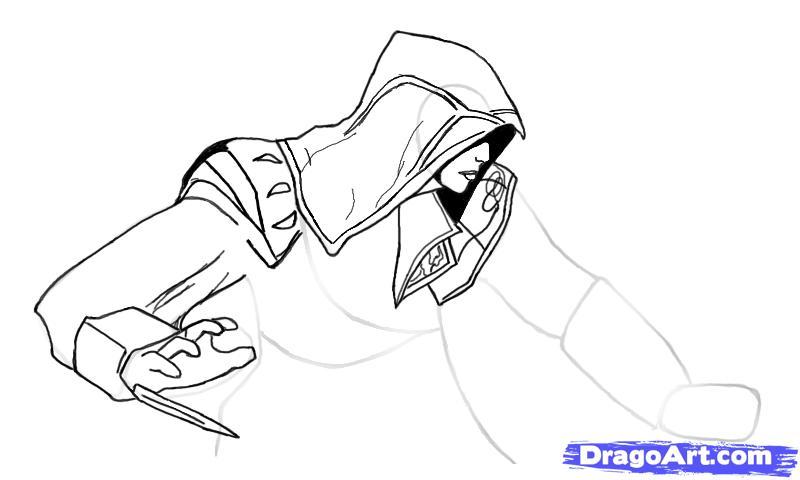 Рисуем Эцио в профиль из Assassins Creed - шаг 8