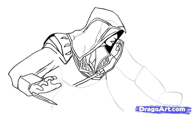 Рисуем Эцио в профиль из Assassins Creed - шаг 9