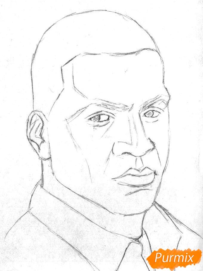 Рисуем Франклина Клинтона из игры Grand Theft Auto V карандашами - шаг 1