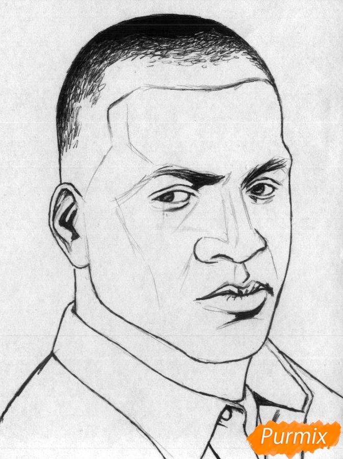Рисуем Франклина Клинтона из игры Grand Theft Auto V карандашами - шаг 2