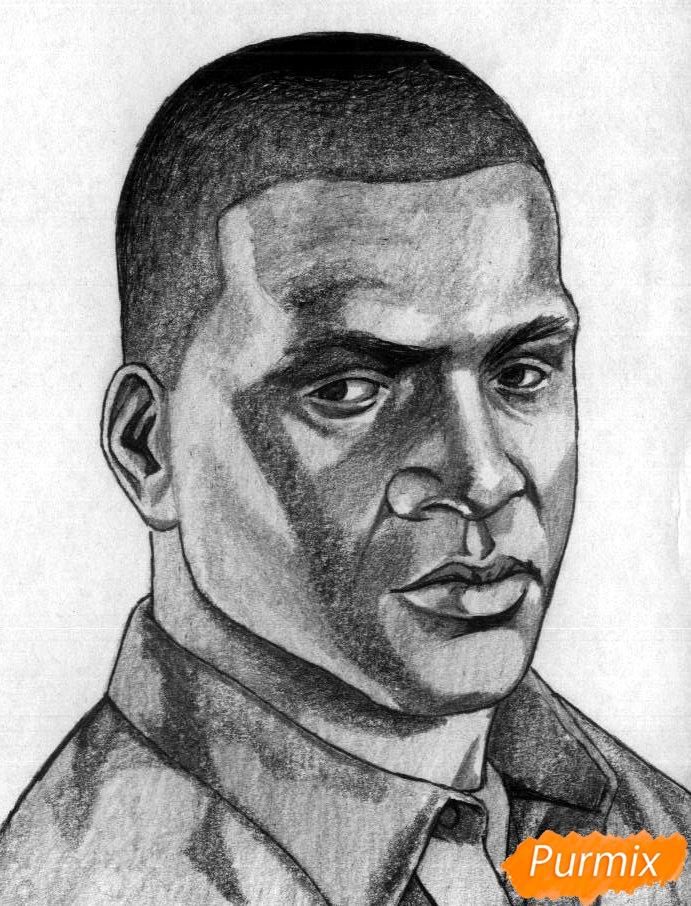 Рисуем Франклина Клинтона из игры Grand Theft Auto V карандашами - шаг 4