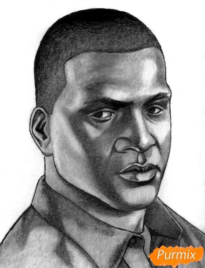 Рисуем Франклина Клинтона из игры Grand Theft Auto V карандашами - шаг 5