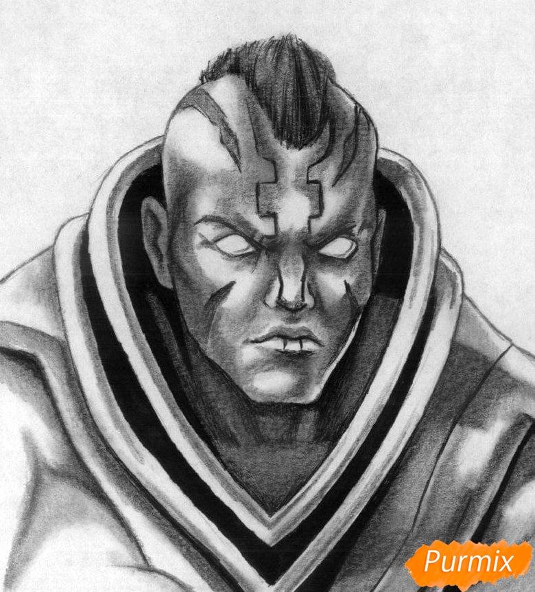 Как нарисовать героя Anti-Mage из игры Dota 2 карандашом поэтапно